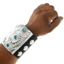 Navajo Sterling Silver Turquoise Leather Cuff 31381