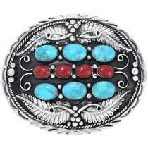 Navajo Turquoise Coral Silver Belt Buckle 31391