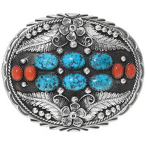 Turquoise Coral Navajo Belt Buckle 31392
