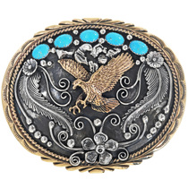 Golden Eagle Navajo Turquoise Belt Buckle 31417
