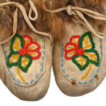 Alaskan Tribe Leather Fur Moccasins 31502