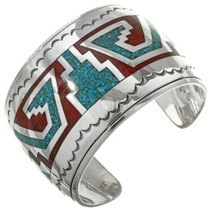 Navajo Inlaid Silver Turquoise Cuff Bracelet 31503
