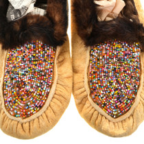 Vintage Alaskan Rainbow Bead Leather Moccasins 31506