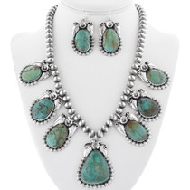 Green Turquoise Silver Necklace Set 31423