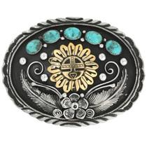 Gold Kachina Turquoise Silver Belt Buckle 31431
