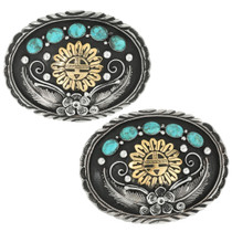 Navajo Turquoise Sunface Kachina Buckle 31431