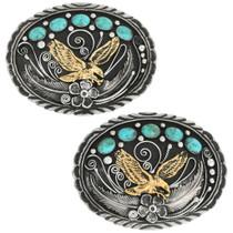 Navajo Tribal Eagle Turquoise Belt Buckle 31433