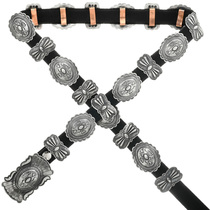 Navajo Sterling Silver Concho Belt 31443