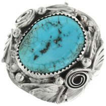 Turquoise Silver Mens Ring 31485
