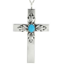 Navajo Turquoise Silver Cross Pendant 31495