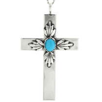 Navajo Turquoise Silver Cross Pendant 31495
