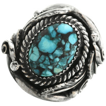 Spiderweb Turquoise Silver Ring 31496