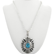 Overlaid Sterling Silver Navajo Turquoise Pendant 31612