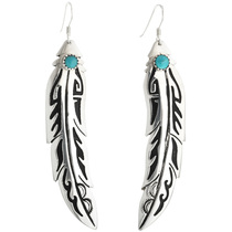 Navajo Turquoise Sterling Feather Earrings 31618