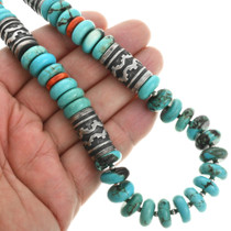 Turquoise Nugget Silver Barrel Bead Necklace 31628