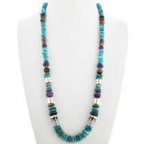 Turquoise Beaded Necklace Silver Gold and Gemstones 31631