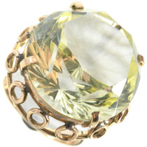 Lemon Quartz 14K Gold Ring Ladies Large Stone Design