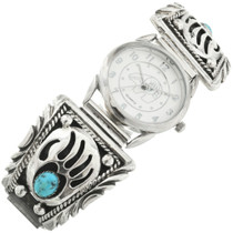 Turquoise Silver Bear Paw Mens Watch 31655