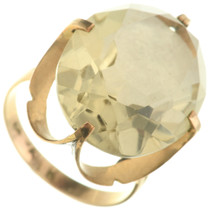 Vintage Lemon Quartz 14K Gold Ladies Ring