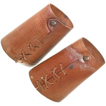 Western Tooled Pattern Leather Wrist Cuffs