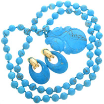Vintage Turquoise Bead Necklace and Earrings Set