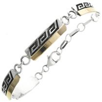 Native American Gold Silver Link Bracelet Hopi Style Overlay
