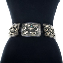 Silver Turquoise Western Concho Belt 31705