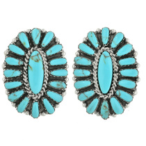Navajo Turquoise Silver Earrings 31718