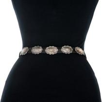 Vintage Sterling Silver Patina Concho Belt 31720