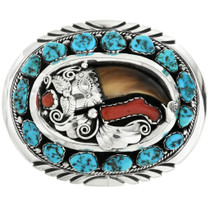 Old Pawn Turquoise Bear Claw Belt Buckle