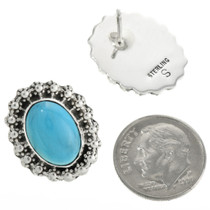 Navajo Silver Turquoise Earrings 31753