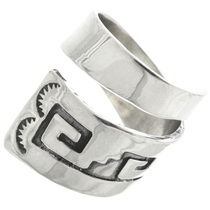 Navajo Overlaid Silver Bypass Ring 31755
