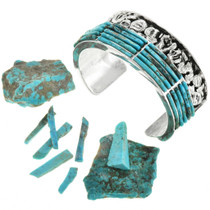Rough Cut Turquoise Channel Inlay Silver Cuff 31762