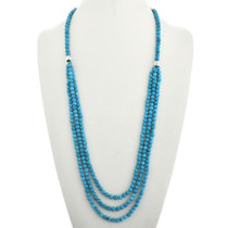 Turquoise Beaded Necklace Three Strand Waterfall 31766