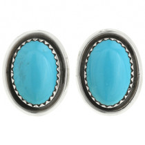 Navajo Turquoise Silver Post Earrings 31769