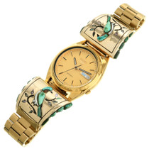 Old Pawn Mens Gold Inlay Watch