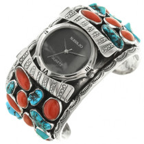 Old Pawn Turquoise Coral Watch Cuff 31795