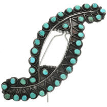 Old Pawn Turquoise Silver Hair Barrette 31796