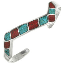 Inlaid Silver Turquoise Coral Bracelet 31799