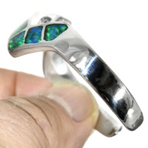Sterling Silver Lightning Shape Inlaid Opal Cuff 31800