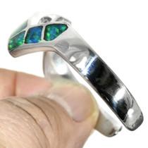 Sterling Silver Lightning Shape Inlaid Opal Cuff 31800