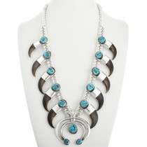Turquoise Bear Claw Squash Blossom Necklace 31808