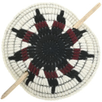 Star Flower Yarn Ponytail Holder Wooden Stick Barrette 31814