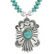 Blue Green Turquoise Pendant Bead Necklace 31822