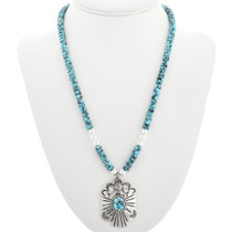 Silver Blue Turquoise Native American Beaded Necklace 31824