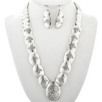 Old Pawn Navajo Overlapping Silver Necklace Set French Hook Earrings