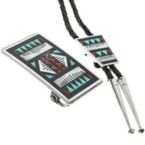 Inlaid Zuni Bolo Tie Set With Buckle 31832