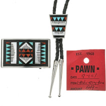 Old Pawn Bolo Tie Set With Buckle 31832