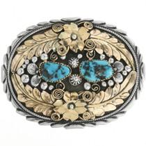 Vintage Turquoise Gold Silver Belt Buckle 31838