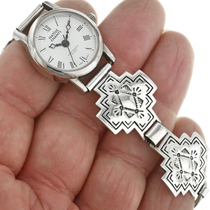 Hammered Silver Indian Cross Watch Bracelet 31841